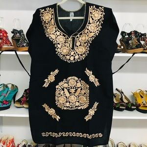 Mexican Embroidered Traditional Dress XL -0X Black